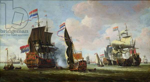 The Arrival of Michiel Adriaanszoon de Ruyter (1607-76) in Amsterdam (oil on canvas)