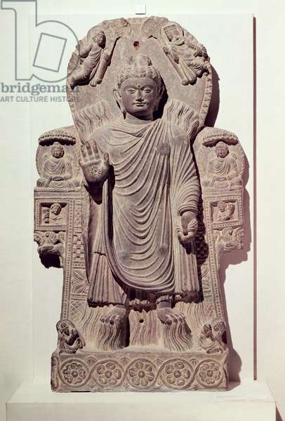 The Buddha of the Great Miracle or, Miracle of Sravasti, from the Paitava monastery, Kapisa School, 3rd-4th century (schist)