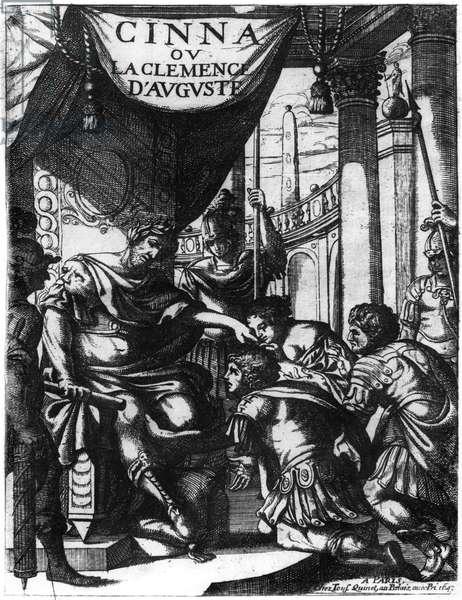 Frontispiece of 'Cinna ou la Clemence d'Auguste' by Pierre Corneille (1606-84) published in 1643 (b/w photo)