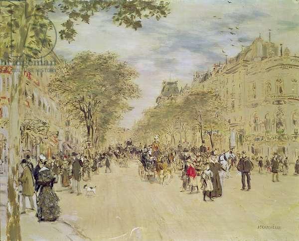 The Pavillon de Hanovre and the Boulevard des Italiens, Paris, after 1870 (gouache & w/c on paper)