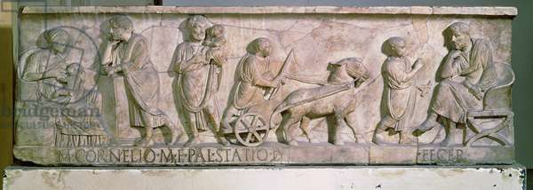 Sarcophagus of Cornelius Statius depicting scenes from the life of a child (marble)