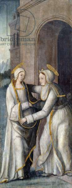 The Visitation, left hand panel from a triptych (oil on panel)