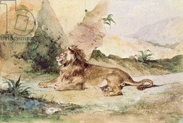 A Lion in the Desert, 1834 (w/c on paper)