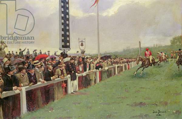The Course at Longchamps, 1886 (oil on canvas)
