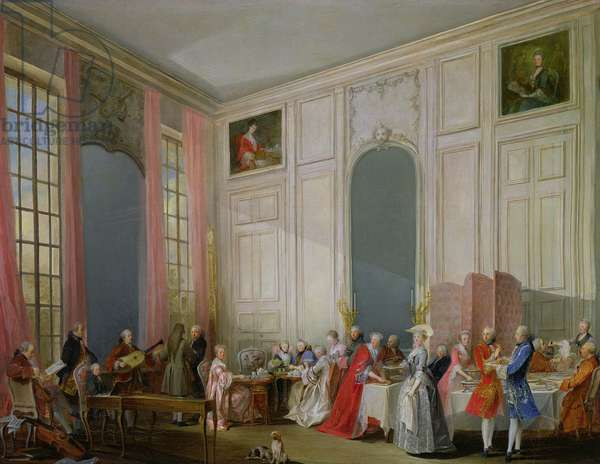 The English Tea (le The a l'Anglaise) and a Society Concert at the house of the Princesse de Conti, Palais du Temple, Paris with the Young Mozart at the Clavichord, 1766 (oil on canvas)