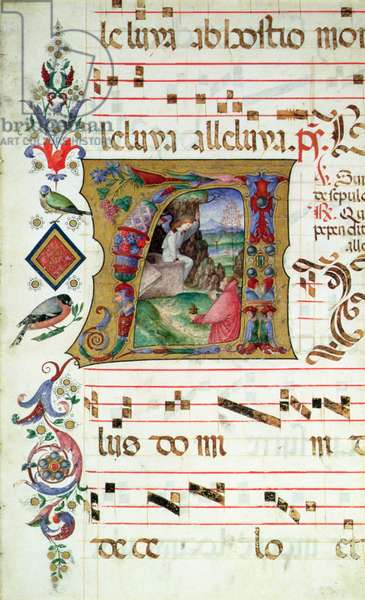 Historiated initial 'A' depicting Mary Magdalene at the Tomb of Christ (vellum)