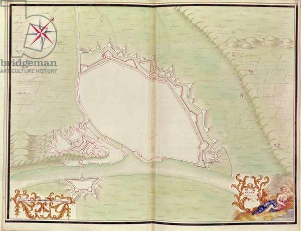 Namur, from 'Atlas de Louis XIV. Plans des places etrangeres', 1665 (pen, ink & wash)