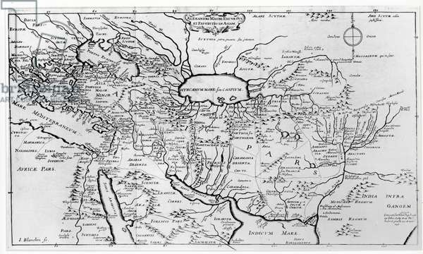 Map of the Travels and the Expeditions of Alexander the Great (356-323 BC) in Asia (engraving) (b/w photo)