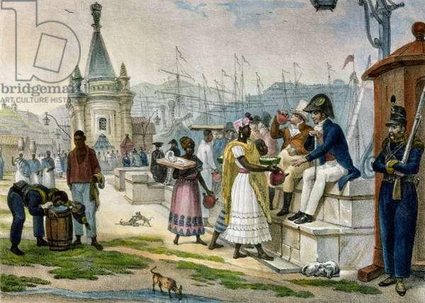 Early Evening Refreshment in the Praca do Palacio, Rio de Janeiro, illustration from 'Voyage Pittoresque et Historique au Bresil', 1835 (colour litho)