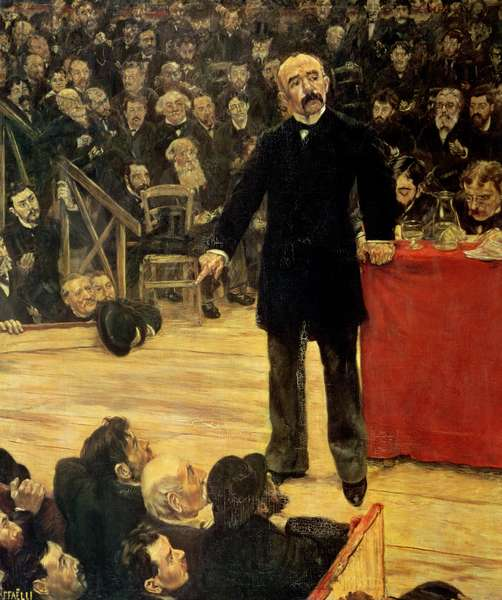 Georges Clemenceau (1841-1929) Making a Speech at the Cirque Fernando, 1883 (oil on canvas)