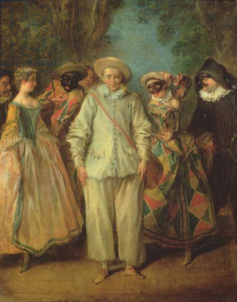 The Actors of the Commedia dell'Arte (oil on canvas)