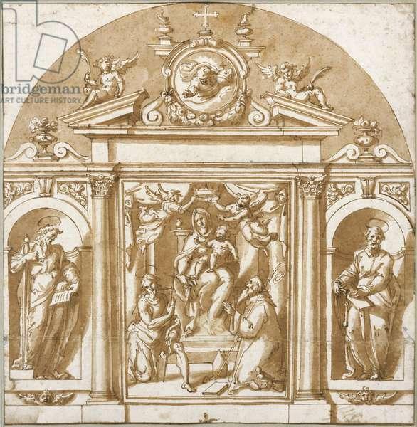 Virgin and saints (pen & ink on paper)
