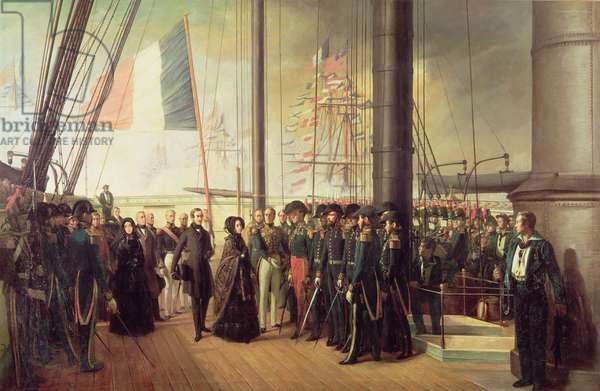 Queen Victoria I, received aboard the steamer 'Le Gomer' by the Rear Admiral Lasusse, 15th October 1844 (oil on canvas)