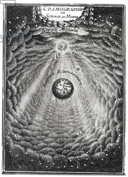 Cosmography or Science of the World (engraving) (b/w photo)