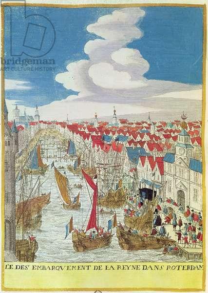 Marie de Medici (1573-1642) Landing in Rotterdam, 1639 (coloured engraving)