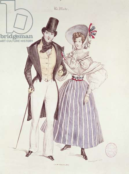 Fashion for Men and Women, 1830 (coloured engraving)