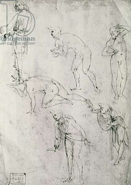 Six Figures, Study for an Epiphany (pen and ink on paper)