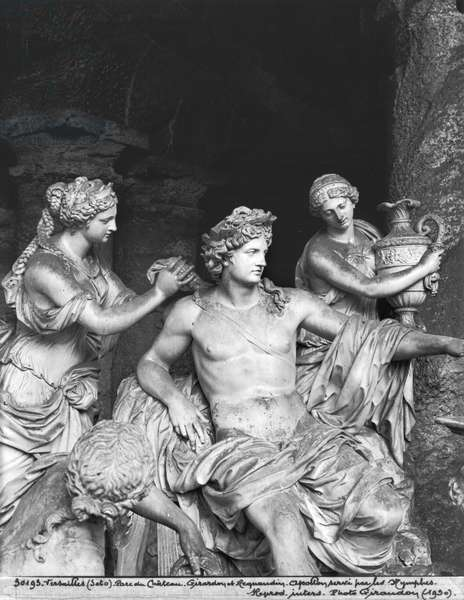Apollo tended by the nymphs in the grove of the Baths of Apollo, executed with the assistance of Thomas Regnaudin (1622-1706) 1666-75 (detail) (see 242847, 242848) (marble) (b/w photo)