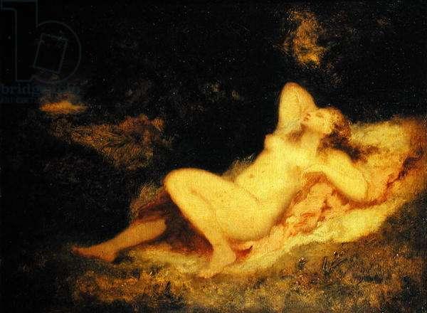 Sleeping Nymph, c.1850-60 (oil on canvas)