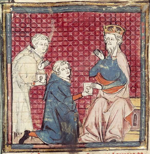 F.117r Messengers telling Charlemagne of the victory over the Saracens, from the Grandes Chroniques de France, 1375-79 (vellum)