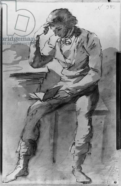 The Reader (ink & wash on paper) (b/w photo)