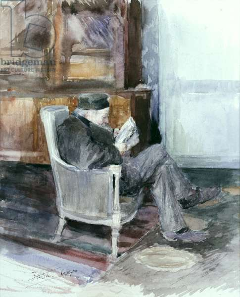 Old man sitting in an armchair (watercolour)
