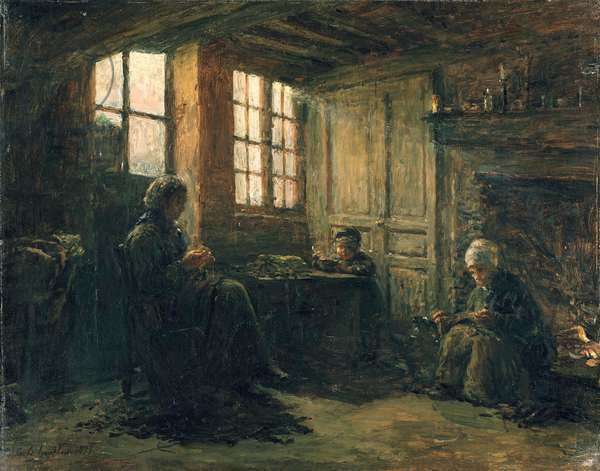 Women Fraying Linen, Honfleur, 1877 (oil on canvas)