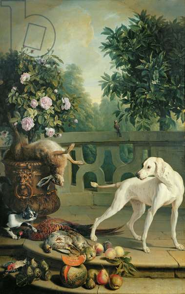 Animals, flowers and fruits (oil on canvas)