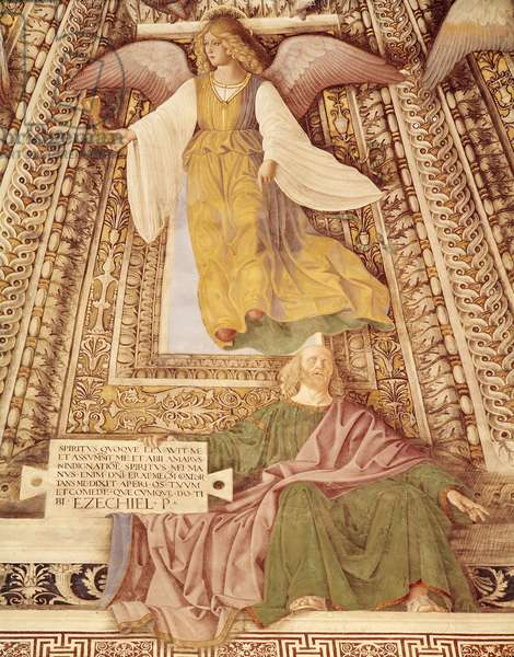 Ezekiel and the Angel holding the chalice of the Passion of Christ, from the cupola of the Sacristy of St. Mark, c.1477 (fresco)  (detail of 498726)
