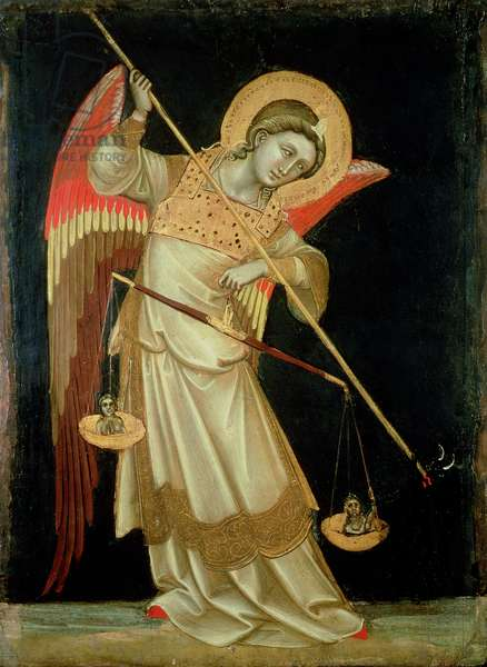 An Angel Weighing a Soul, c.1348-55 (tempera on panel)
