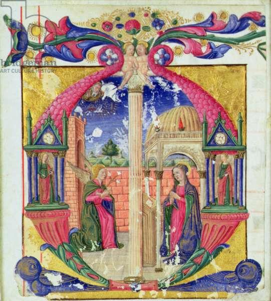 Historiated initial 'M' depicting the Annunciation, c.1475 (vellum)