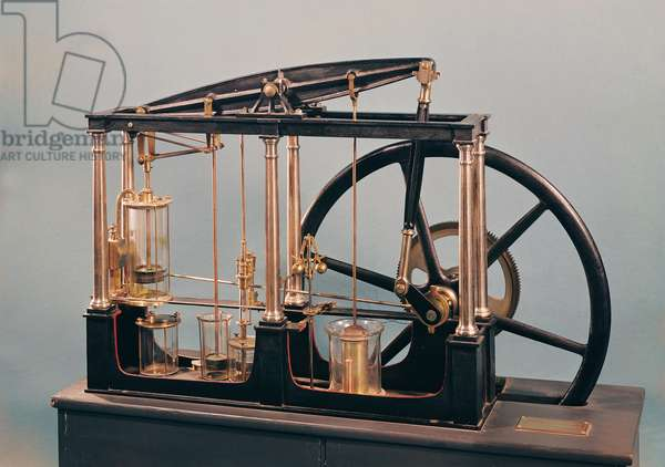 Reconstruction of James Watt's steam engine, 1781 (copper & glass)