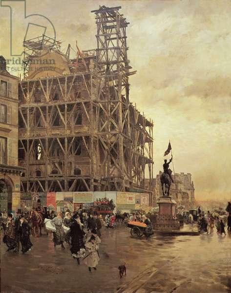 The Place des Pyramides, Paris, 1875 (oil on canvas)