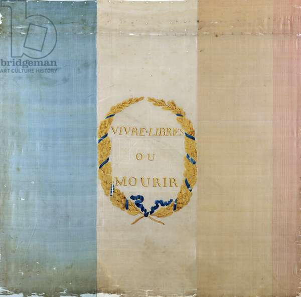 Tricolore with the motto 'Live Free or Die', 1792 (painted fabric)