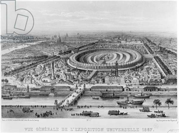 General View of the Exposition Universelle, Paris in 1867 (engraving) (b/w photo)