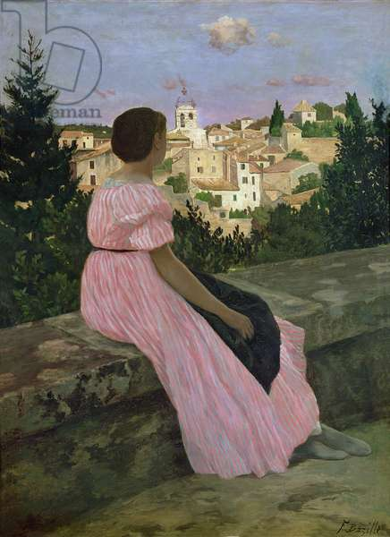 The Pink Dress, or View of Castelnau-le-Lez, Herault, 1864 (oil on canvas)