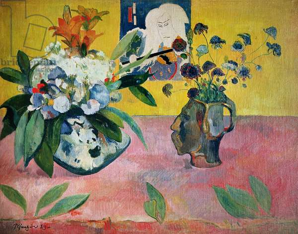 Still Life with Head-Shaped Vase and Japanese Woodcut, 1889 (oil on canvas