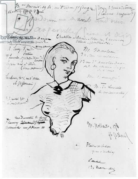 Portrait of Jeanne Duval with notes by Auguste Poulet-Malassis (1825-78) 1858-60 (pen & ink on paper) (b/w photo)