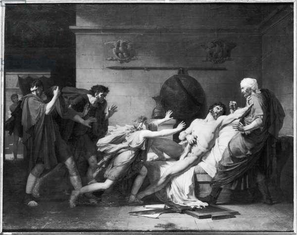 The Death of Cato of Utica (95-46 BC) 1797 (oil on canvas) (b/w photo)