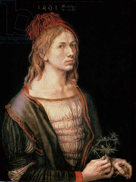 Self Portrait with a Thistle, 1493 (oil on vellum)