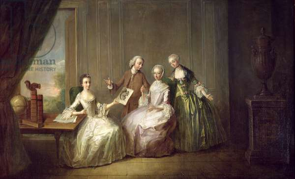 Family in an Interior with Squirrels, possibly the Burton Family from Eltham, Kent, 1755-60 (oil on canvas)