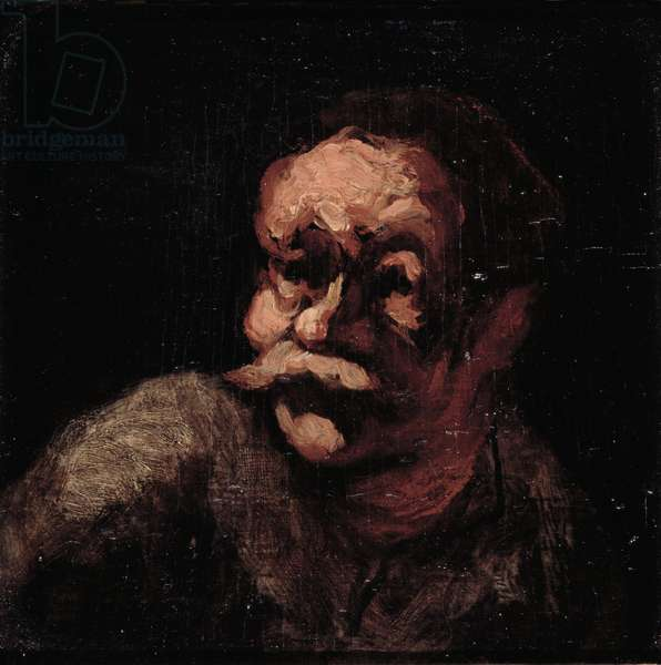 Head of a man (oil on panel)