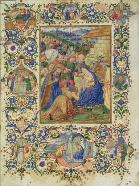 The Adoration of the Magi surrounded by medallions depicting episodes from the life of the Virgin and a prophet (vellum)