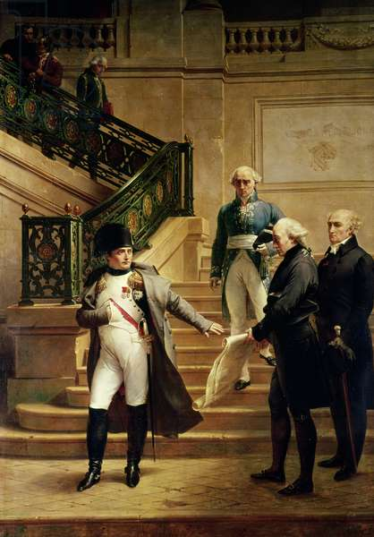 Napoleon I (1769-1821) in the Palais Royal Received by the President of the Tribunal and Refusing the Plans of Percier or Fontaine, 1807 (oil on canvas)