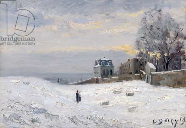 Snow at Montmartre, 1869 (oil on canvas)