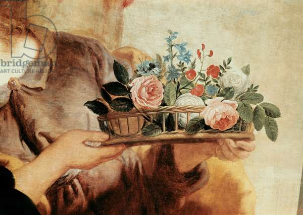 Our Lady of the Rosary, detail of the basket of flowers (oil on canvas)