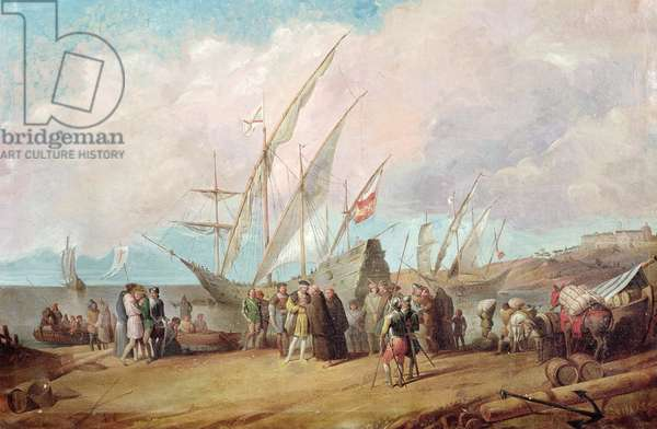 Departure of Christopher Columbus (1451-1506) from Palos (oil on canvas)