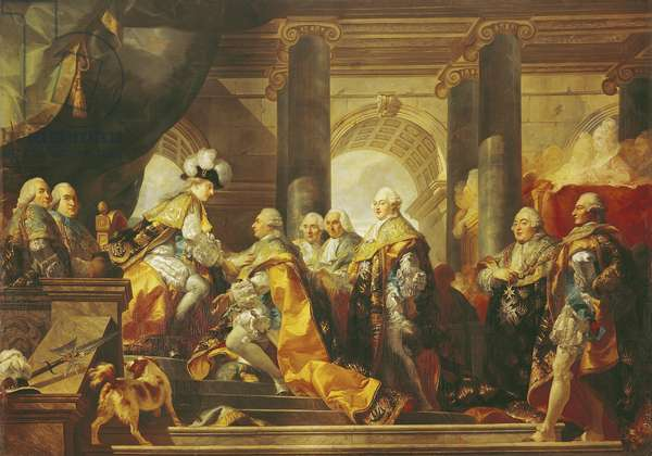 Louis XVI (1754-93) King of France, Receiving the Homage of the Knights of the Order of St. Esprit at Reims, 13th June 1775 (oil on canvas)