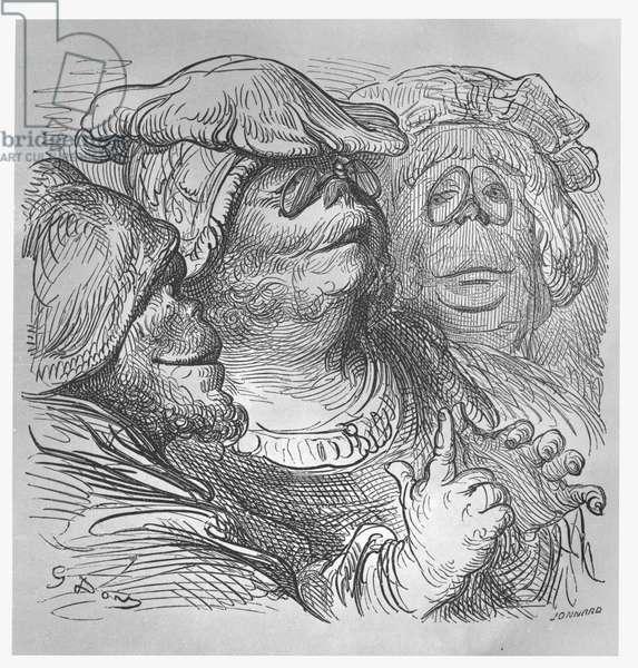 Inhabitants of the island of Ennasin, illustration from 'Gargantua and Pantagruel', by François Rabelais (engraving)