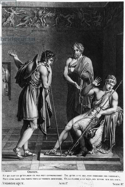 Orestes and Pyrrhus, illustration from Act I Scene 2 of 'Andromaque' by Jean Racine (1639-99) engraved by Mathieu (19th century) (engraving) (b/w photo)